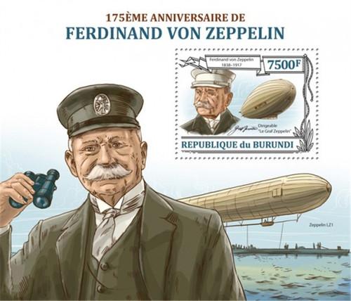 Burundi - 2013 Ferdinand von Zeppelin - Stamp Souvenir Sheet - 2J-550