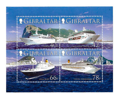 Gibraltar Wholesale 10 ea Cruise Ships 4 Stamp Sheet Below Face #1055a