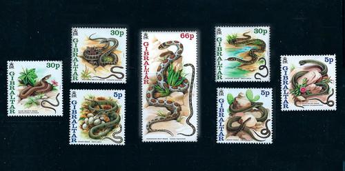 Gibraltar 2001 Native Snakes 0n Stamps - 7 Stamp Mint Set  #864-70