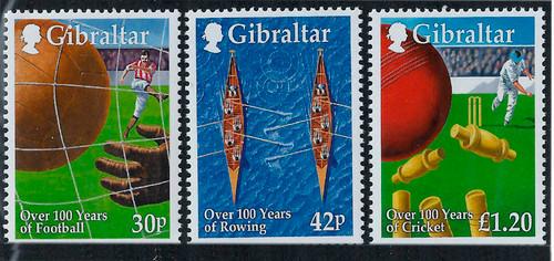 Gibraltar Wholesale - 10 Sets Sports, 3 Stamp Sets, #817-9 at 1/2  Face!