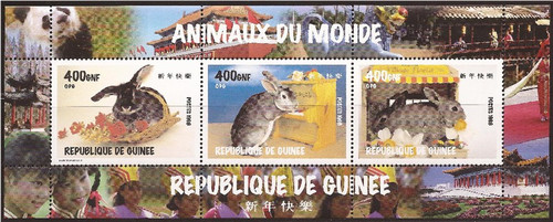 Guinea - 1998 Year of the Rabbit - 3 Stamp Sheet - 7B-2209