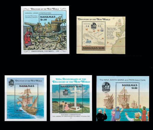 Bahamas - 1988 -92 Christopher Columbus - 5 MNH Souvenir Sheets 2P-007