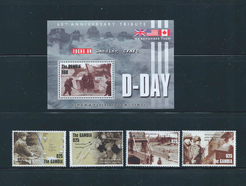 Gambia - 2004 D-Day Commemorative Set of 4 Stamps with S/S 7L-007
