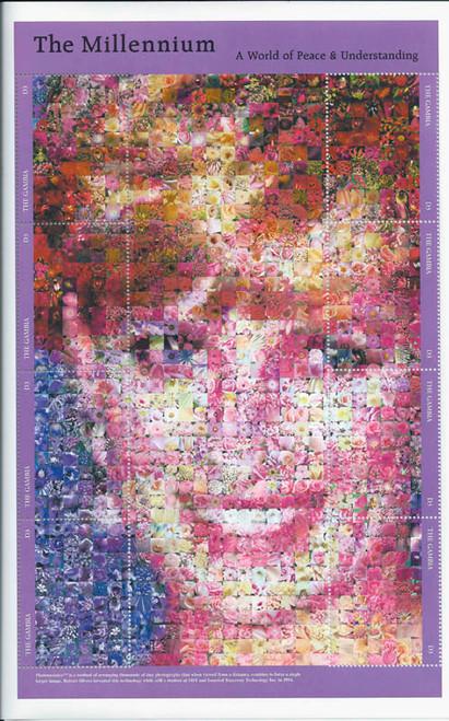 Gambia 1999 Princess Diana Flower Photomosaic 8 Stamp Sheet 7L-008