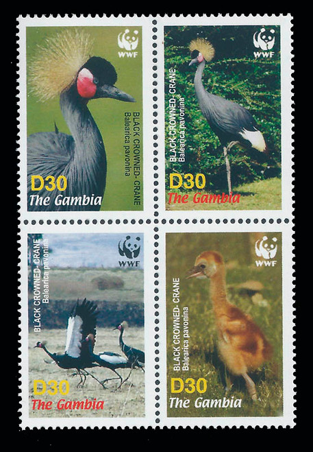 Gambia 1990 WWF & Water Fowl MNH 4 Stamp Block 7L-010