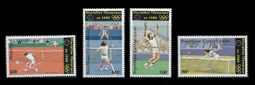 Central Africa 1986 Olympic Tennis - 4 Stamp Set, Scott #C326-9 3H-578