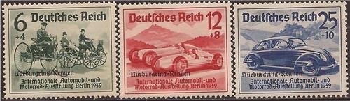 Germany - 1939 Auto Overprints - 3 Stamp Set - MNH F/VF Scott #B141-3