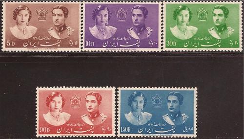 Iran - 1939 Royal Wedding - 5 Stamp Set - F/VF MLH - Scott #871-5