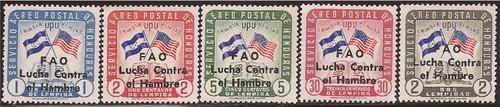 Honduras - 1964 Flags - FAO Overprint - 5 Stamp Set - 8E-002 - #C320-4
