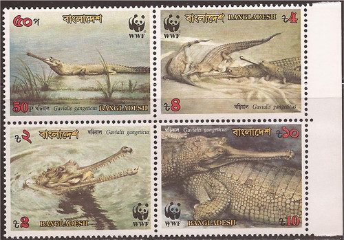 Bangladesh - 1990 WWF Gharial Crocodile - Block of 4 Stamps - 2R-001