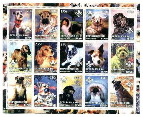 2002 Dogs on Stamps - 15 Stamp Sheet