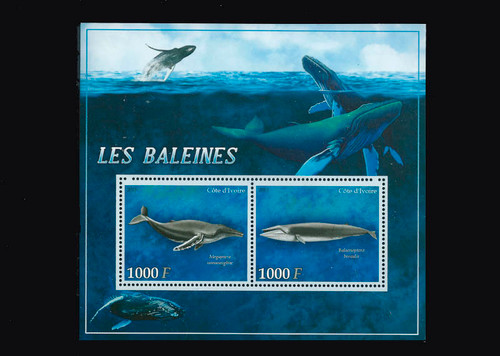 Ivory Coast – 2013 Whales on Stamps Mint 2 Stamp Sheet 9A-259