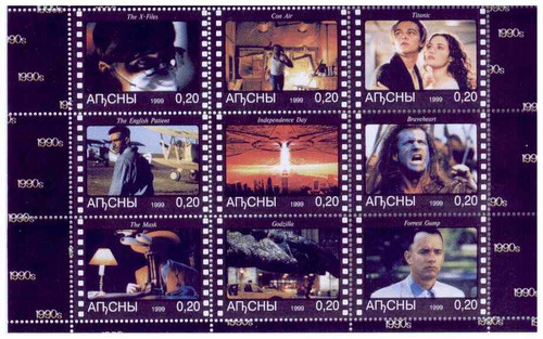 1990's Films on Stamps, Gump, Godzilla, Titanic - 9 Stamp Sheet 633