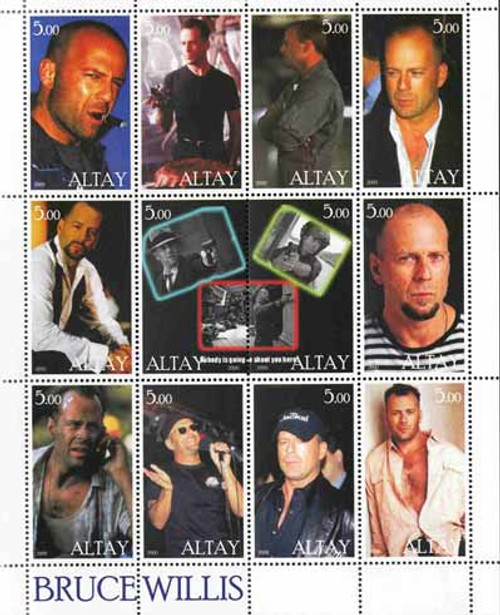 2000 Bruce Willis on Stamps - 12 Stamp Mint Sheet - 1E-015