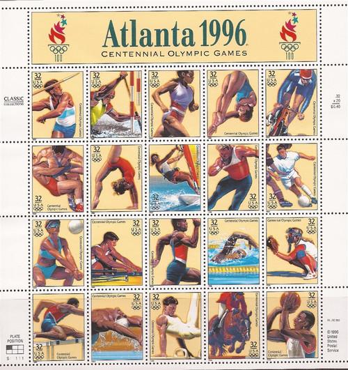 US Stamps - 1996 Atlanta Olympics - 20 Stamp Sheet - Scott #3068