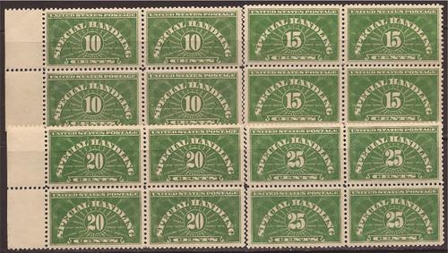 US Stamp - 1925-8 Special Handling-Set of 4 Blocks of 4 Stamps #QE1-4
