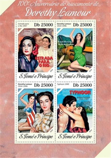 St Thomas - 2014 Dorothy Lamour Anniversary - 4 Stamp Sheet - ST14203a