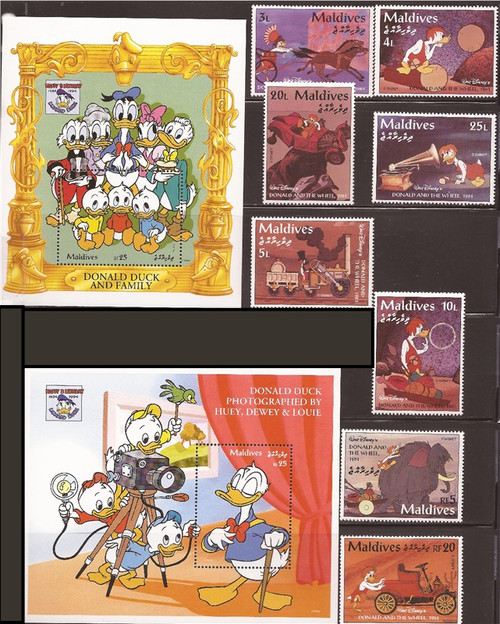 Maldives - 1995 Donald Duck 8 Stamps, 4 S/S, 2 8 Stamp Sheets-13E-129