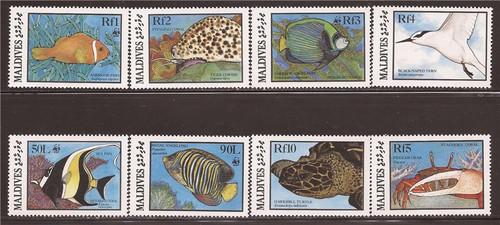 Maldives - 1986 Marine Life & WWF 8 Stamp Set - 13E-001 Scott #1185-94
