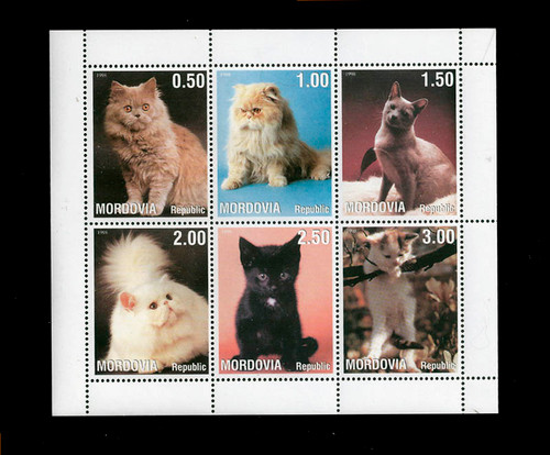 1998 - Domestic Cats and Kittens on Stamps Mint 6 Stamp Sheet 13G-029