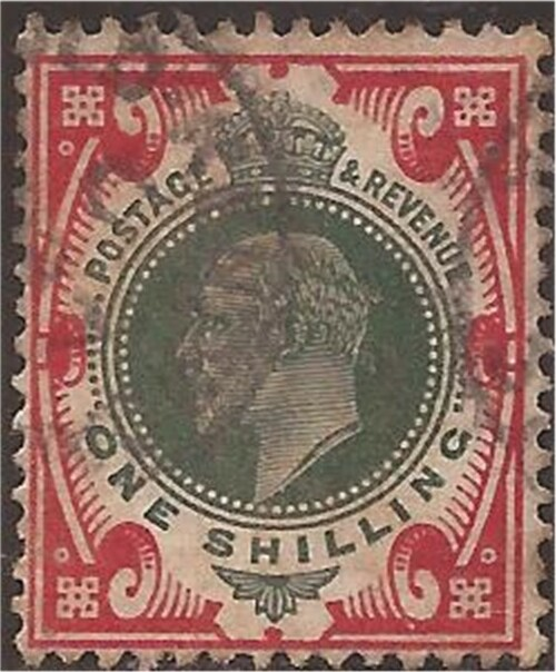 Great Britain - 1902 1sh King Edward VII dark green - F/VF Used #138a