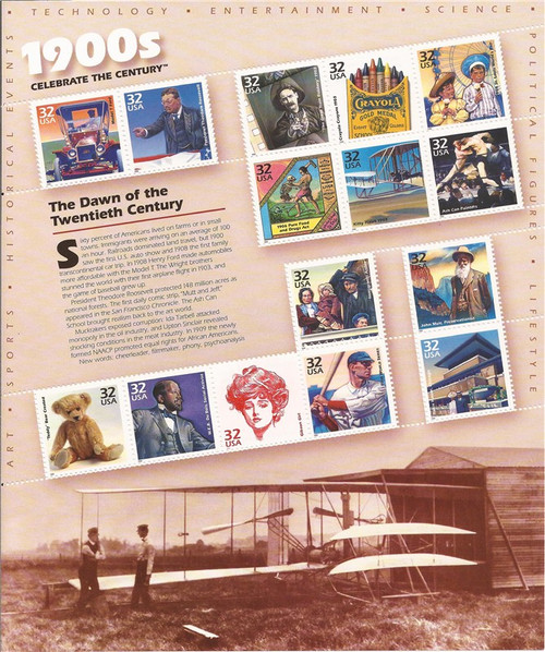 US Stamp - 1998 Celebrate the Century 1900s - 15 Stamp Sheet #3182