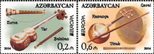 Azerbaijan 2014 Europe National Music Instruments 2 Stamp Sheet 1G-019