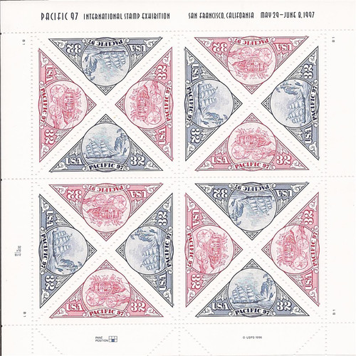 US Stamp - 1997 Pacific '97 - 16 Triangle Stamp Sheet F/VF MNH #3130-1