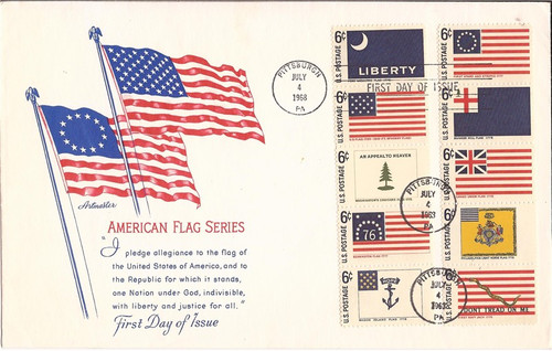 US Stamp - 1968 Historic Flags First Day Cover 10 Stamps #1345-54