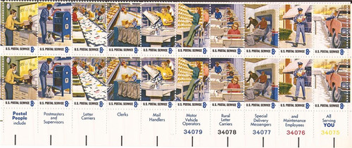US Stamp 1973 Postal People Plate Block of 20 Stamps