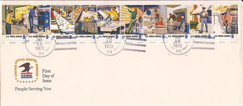 1973 Postal People First Day Cover 10 Stamps