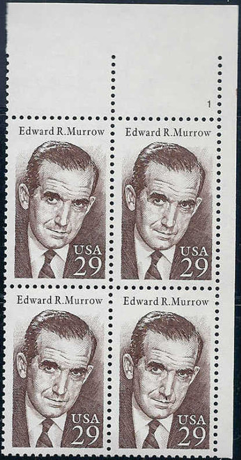 1994 Edward R. Murrow Plate Block of 4 Stamps
