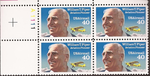 US Stamp 1991 William Piper Airmail Plate Block of 4 Stamps #C129