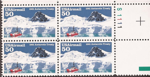 1991 Antarctic Treaty Airmail Plate Block of 4 Stamps