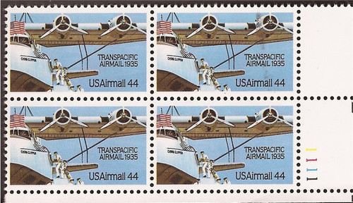 US Stamp1985 Transpacific Airmail - Plate Block of 4 Stamps #C115