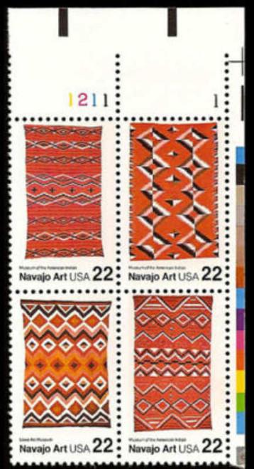US Stamp - 1986 Navajo Art Plate Block of 4 Stamps #2235-8