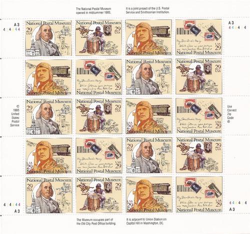 US Stamp - 1993 National Postal Museum - 20 Stamp Sheet #2779-82