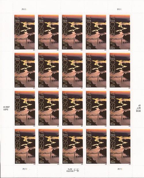 US Stamp - 2008 Minnesota Statehood - 20 Stamp Sheet - Scott #4266