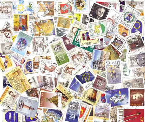 Lithuania Stamp Collection - 100 Diff Postally Used Stamps Post 1990