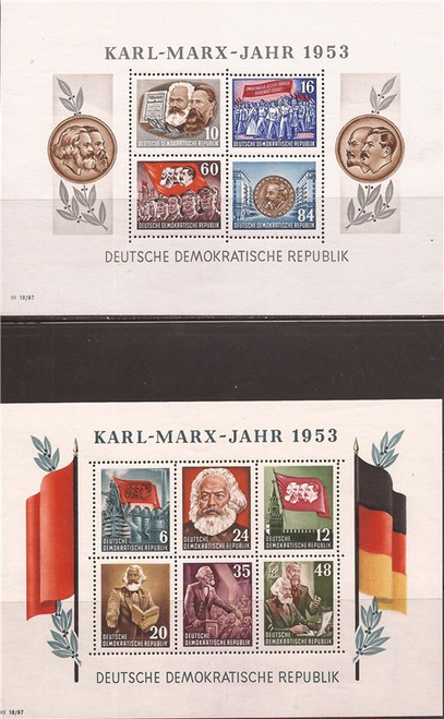 Germany-DDR - 1953 Karl Marx - 4 Sheets, 2 Perf, 2 Imperf  #144a, 146a
