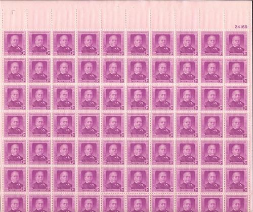 US Stamp - 1950 Samuel Gompers - 70 Stamp Sheet - Scott #988