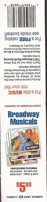 US Stamp - 1993 Broadway Musicals - Booklet Pane of 20 Stamps #BK209