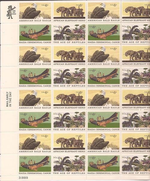 US Stamp - 1970 Natural History - 32 Stamp Sheet - Scott #1387-90