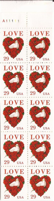 US Stamp - 1994 Love Dove & Roses - Booklet of 20 Stamps #BK214