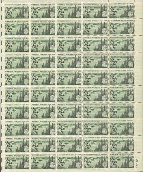 US Stamp - 1958 Minnesota Statehood - 50 Stamp Sheet - Scott #1106