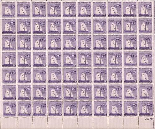 US Stamp - 1957 Shipbuilding - 70 Stamp Sheet - Scott #1095