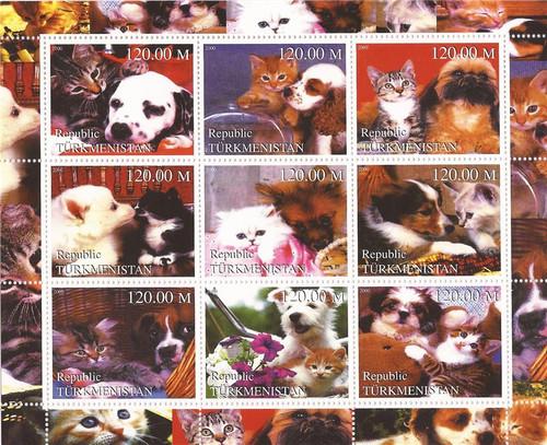 2000 Dogs & Cats Friends - 9 Stamp Sheet - 20D-125