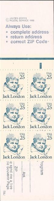 US Stamp - 1988 Jack London - Booklet of 6 Stamps Scott 2197a BK151