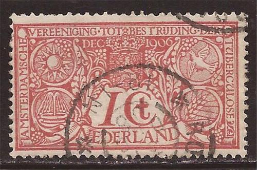Netherlands - 1906 1c + 1c Semi-Postals - F/VF Postally Used #B1
