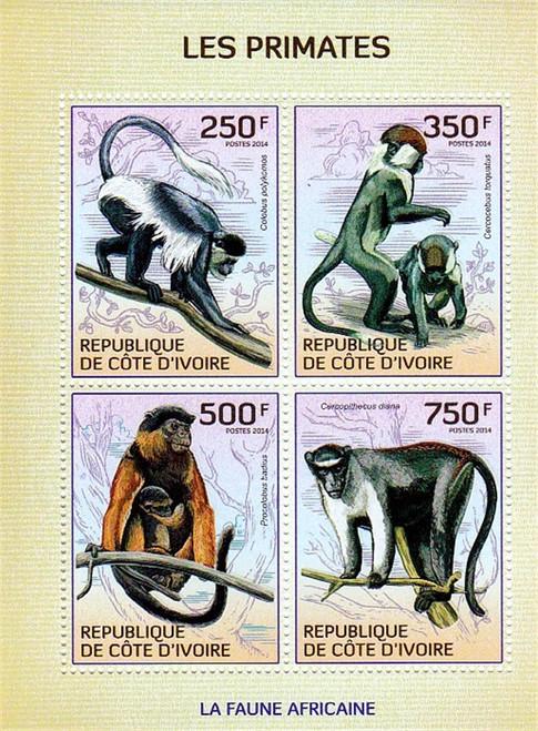 Ivory Coast - 2014 Primates, Monkeys on Stamps - 4 Stamp Sheet 9A-304